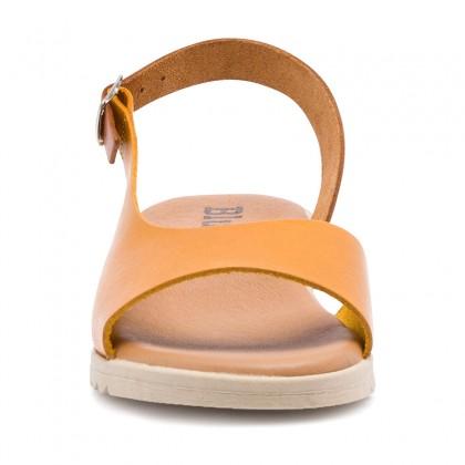 Sandalias Cuña Baja Mujer Piel Plantilla Acolchada 1115 Amarillo, de Blusandal