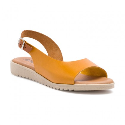 Woman Leather Low Wedged Sandals Padded Insole 1115 Yellow, by Blusandal