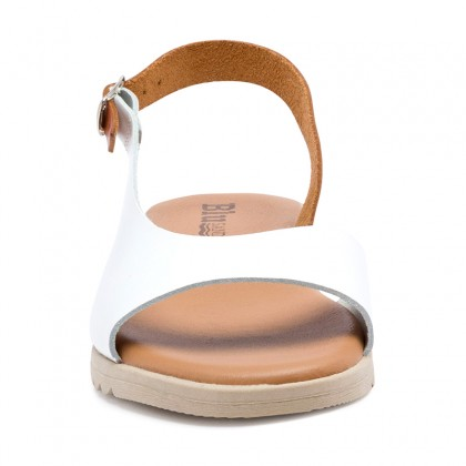 Woman Leather Low Wedged Sandals Padded Insole 1115 White, by Blusandal