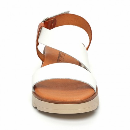 Woman Leather Low Wedged Sandals Padded Insole 166 White, by Blusandal