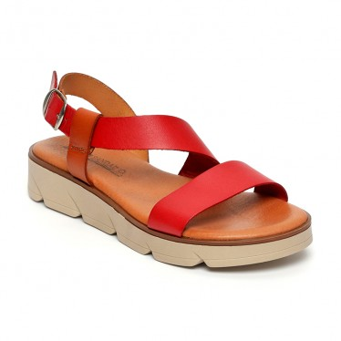 Woman Leather Low Wedged Sandals Padded Insole 166 Red, by Blusandal