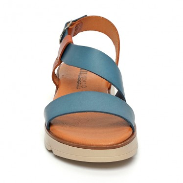 Woman Leather Low Wedged Sandals Padded Insole 166 Blue, by Blusandal