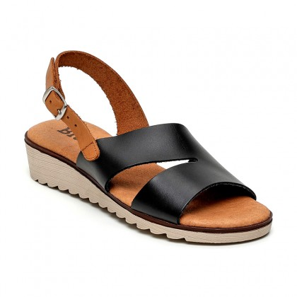 Woman Leather Low Wedged Sandals Padded Insole 165 Black, by Blusandal