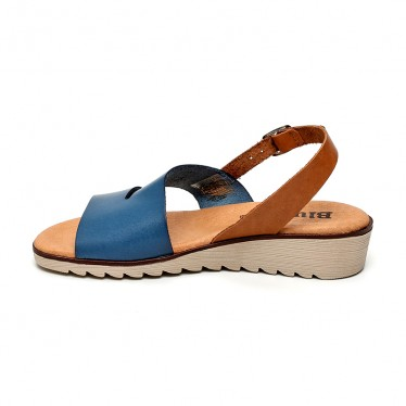 Woman Leather Low Wedged Sandals Padded Insole 165 Blue, by Blusandal