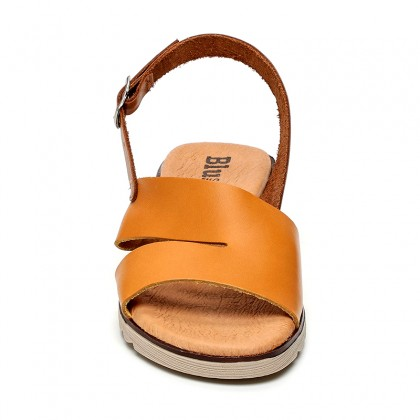 Woman Leather Low Wedged Sandals Padded Insole 165 Yellow, by Blusandal