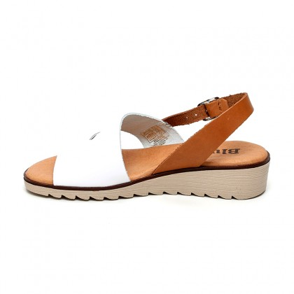 Woman Leather Low Wedged Sandals Padded Insole 165 White, by Blusandal