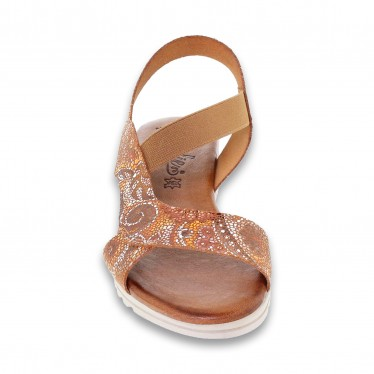 Woman Leather Low Wedged Sandals Padded Insole 100 Leather, by Amelie