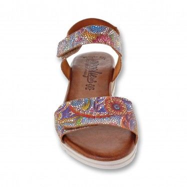 Woman Leather Low Wedged Sandals Padded Insole 101 Multicolor, by Amelie
