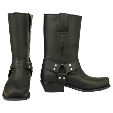 Men Biker Boots by Johnny Bulls 4829 BLACK SOLE