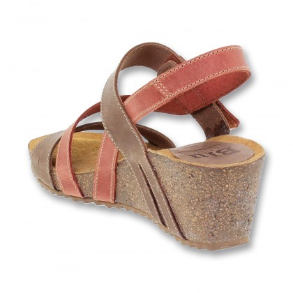 Woman Leather Medium Wedged Bio Sandals Velcro Padded Insole 4325 Tile, by Blusandal