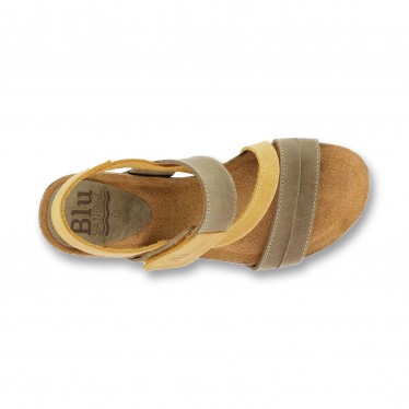 Woman Leather Medium Wedged Bio Sandals Velcro Padded Insole 4325 Mustard, by Blusandal
