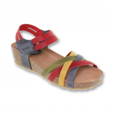 Woman Leather Medium Wedged Bio Sandals Velcro Padded Insole 86200 Multicolor, by Blusandal