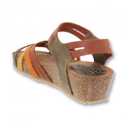 Woman Leather Medium Wedged Bio Sandals Velcro Padded Insole 86200 Multileather, by Blusandal