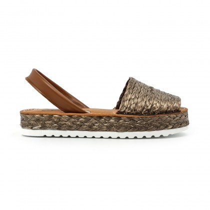 Woman Leather and Raffia Menorcan Sandals Platform 14435 Brown, by C. Ortuño