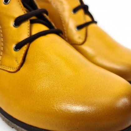 Womens Leather Comfort Wedged Booties Laces Removable Insole 70241 Mustard, by Tupié