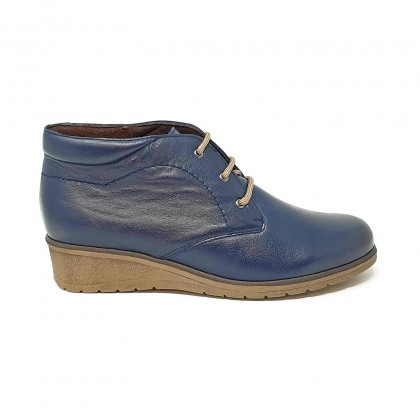 Womens Leather Comfort Wedged Booties Laces Removable Insole 70241 Navy, by Tupié