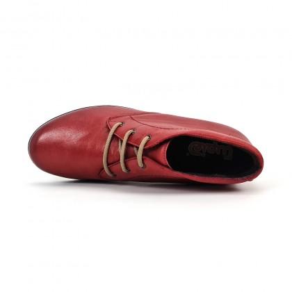 Botines Cómodos Mujer Piel Cuña Cordones Plantilla Extraíble 70241 Rojo, de Tupié