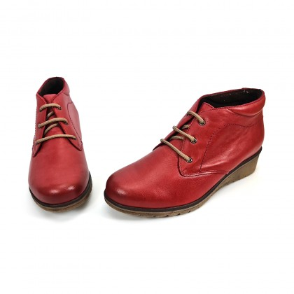 Womens Leather Comfort Wedged Booties Laces Removable Insole 70241 Red, by Tupié