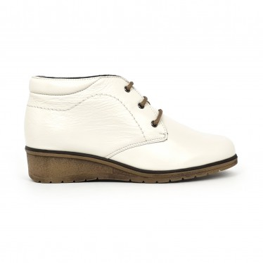 Womens Leather Comfort Wedged Booties Laces Removable Insole 70241 Ice by Tupié