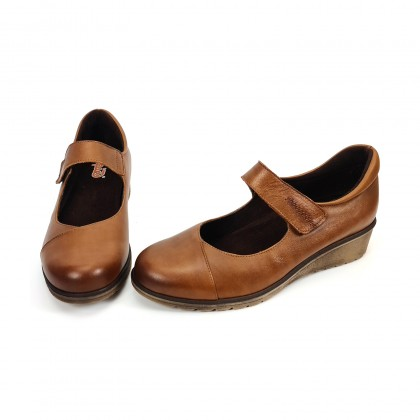 Woman Leather Wedged Mary Janes Removable Insole 70805 Leather, by TuPie