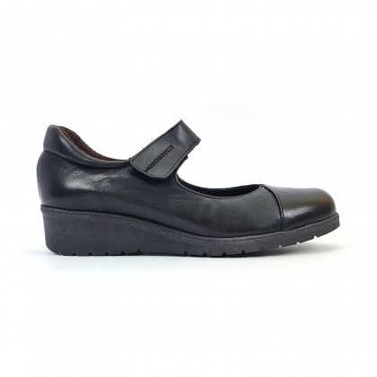 Woman Leather Wedged Mary Janes Removable Insole 70805 Black, by TuPie