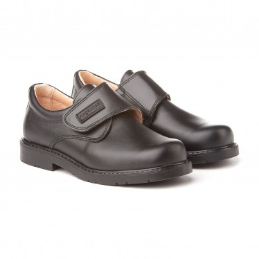 Boys Leather School Shoes Velcro 435 Black, by AngelitoS