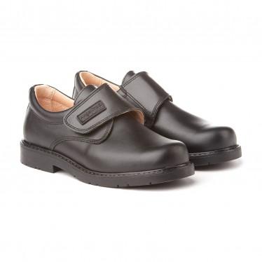 Zapatos Colegiales Niño Piel Velcro 435 Negro, de Angelitos