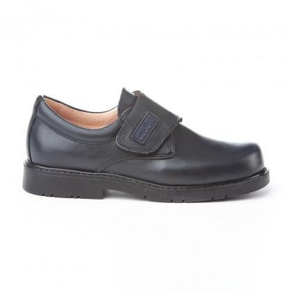 Zapatos Colegiales Niño Piel Velcro 435 Marino, de Angelitos