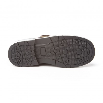 Boys Leather School Shoes Velcro 435 Chocolate, by AngelitoS