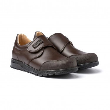 Boys Leather School Shoes Reinforced Toe Velcro 453 Chocolate, by AngelitoS