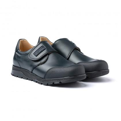 Zapatos Colegiales Niño Piel Puntera Reforzada Velcro 453 Marino, de Angelitos