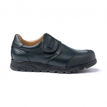 Boys Leather School Shoes Reinforced Toe Velcro 453 Navy, by AngelitoS