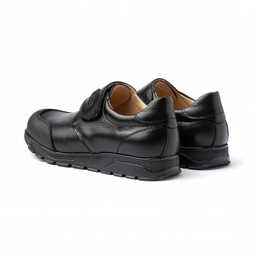 Zapatos Colegiales Niño Piel Puntera Reforzada Velcro 453 Negro, de Angelitos