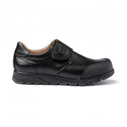 Boys Leather School Shoes Reinforced Toe Velcro 453 Black, by AngelitoS