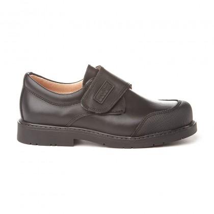 Zapatos Colegiales Niño Piel Puntera Reforzada Velcro 452 Negro, de Angelitos