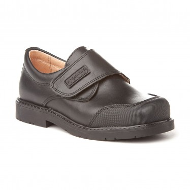 Boys Leather School Shoes Reinforced Toe Velcro 452 Black, by AngelitoS