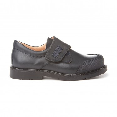 Boys Leather School Shoes Reinforced Toe Velcro 452 Navy, by AngelitoS