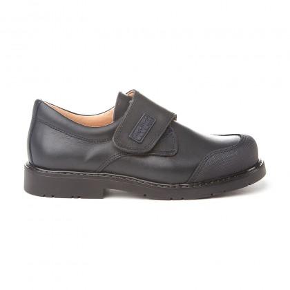 Zapatos Colegiales Niño Piel Puntera Reforzada Velcro 452 Marino, de Angelitos