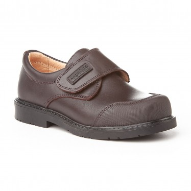 Boys Leather School Shoes Reinforced Toe Velcro 452 Chocolate, by AngelitoS