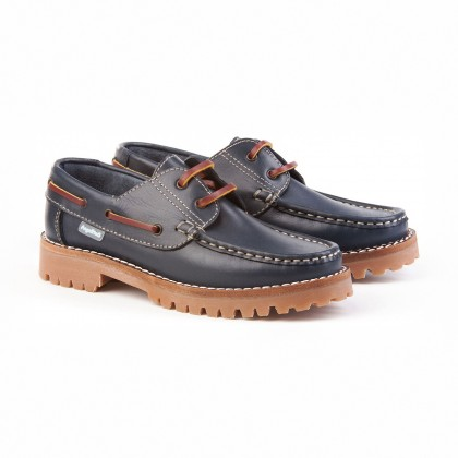 Boys Leather School Boat Shoes Thick Sole 805 Navy, by AngelitoS