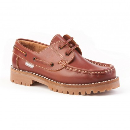 Boys Leather School Boat Shoes Thick Sole 805 Leather, by AngelitoS