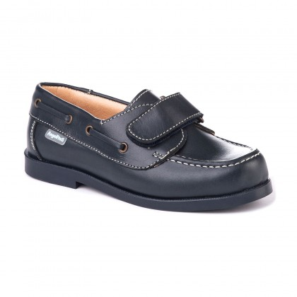 Boys Leather School Boat Shoes Velcro Rounded Toe 350 Navy, by AngelitoS