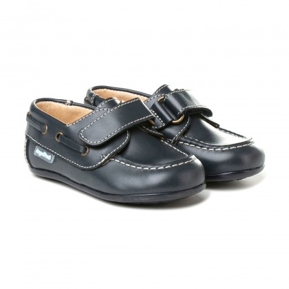 Boys Leather School Boat Shoes Velcro Rounded Toe 355 Navy, by AngelitoS