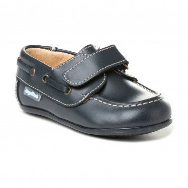 Childrens Boy Leather School Boat Shoes Velcro Rounded Toe 355 Navy, by AngelitoS