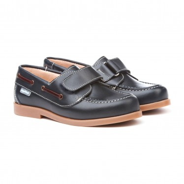 Boys Leather School Boat Shoes Velcro Rounded Toe 351 Navy, by AngelitoS