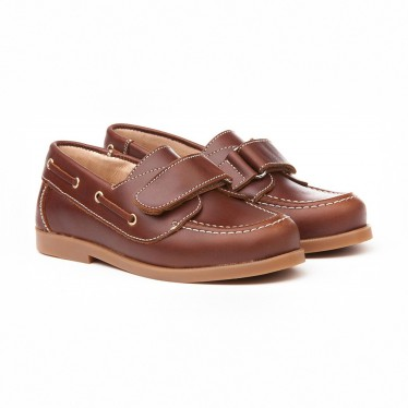 Boys Leather School Boat Shoes Velcro Rounded Toe 351 Leather, by AngelitoS