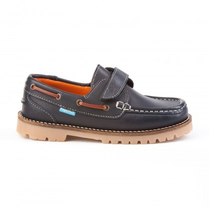Boys Leather School Boat Shoes Velcro Thick Sole 804 Navy, by AngelitoS