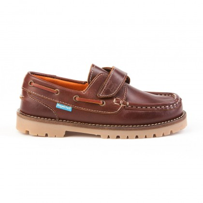 Boys Leather School Boat Shoes Velcro Thick Sole 804 Leather, by AngelitoS