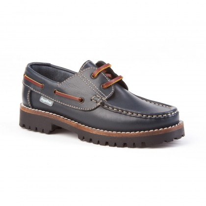 Boys Leather School Boat Shoes Thick Black Sole 806 Leather, by AngelitoS