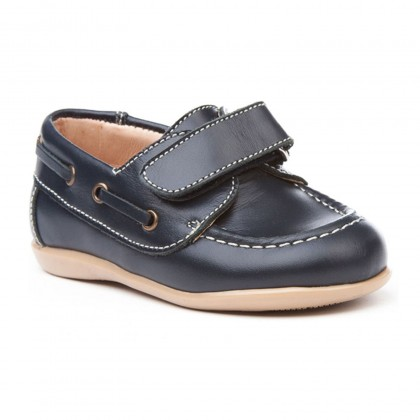 Childrens Boy Leather School Boat Shoes Velcro Rounded Toe 354 Navy, by AngelitoS